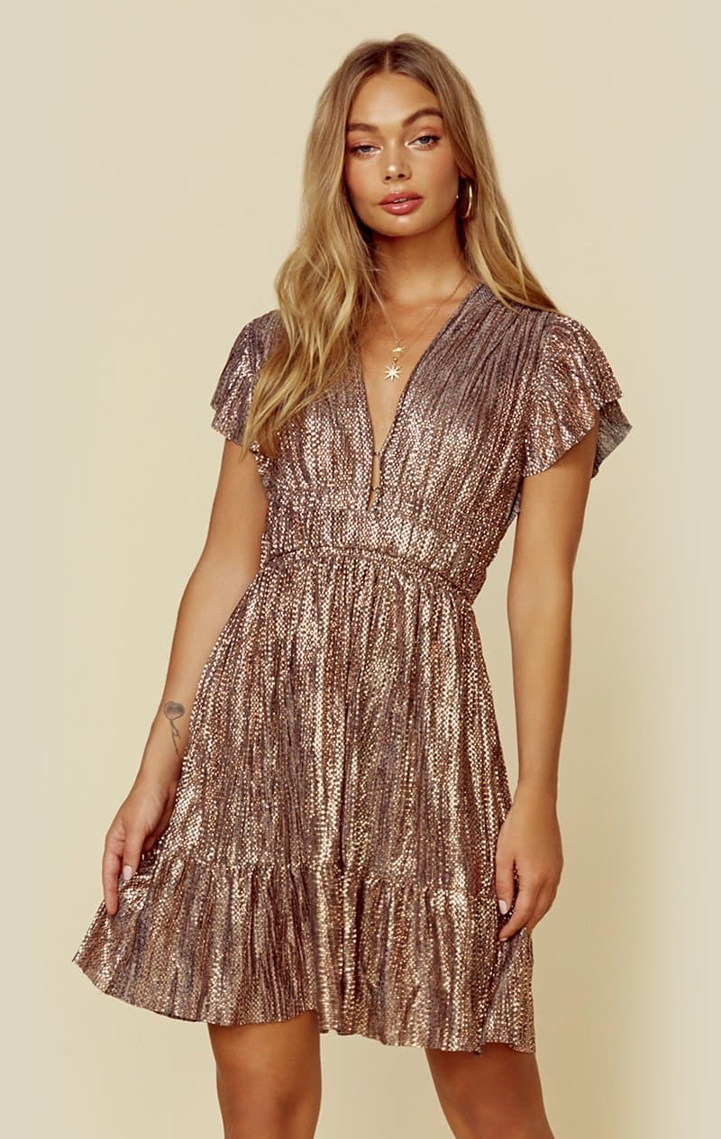 SABINA MUSAYEV KIKI DRESS - BRONZE METALLIC