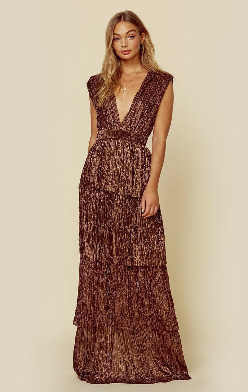 SABINA MUSAYEV SKYLAR DRESS - BRONZE METALLIC