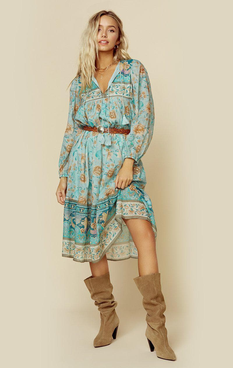 SPELL & THE GYPSY COLLECTIVE SEASHELL BOHO DRESS - SEAFOAM