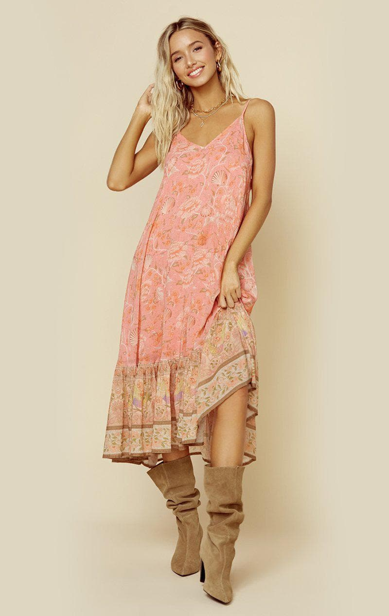 SPELL & THE GYPSY COLLECTIVE SEASHELL STRAPPY MIDI DRESS - CORAL SEASHELL