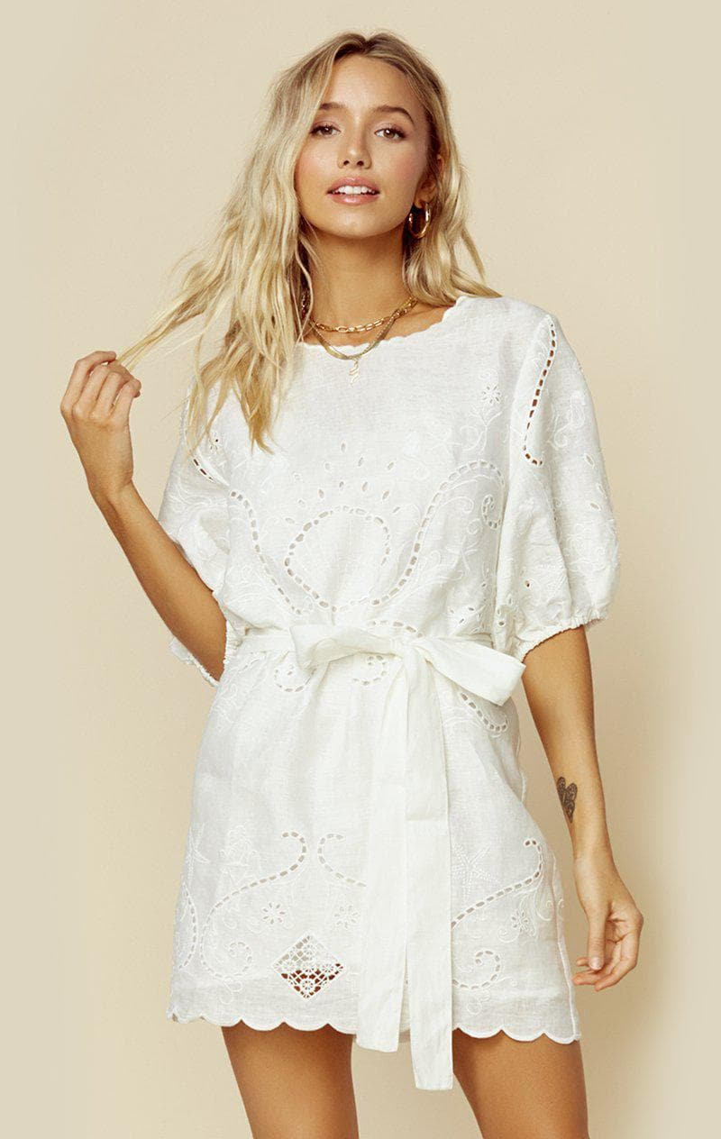 SPELL & THE GYPSY COLLECTIVE LALA LINEN SHIFT DRESS | New - WHITE