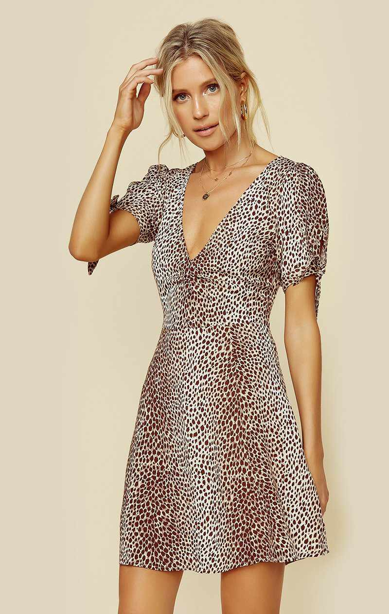 AUGUSTE THE LABEL NALA COLE MINI DRESS - TAN LEOPARD