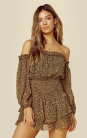 Long Sleeves Off the Shoulder Ballerina Floral Print Straight Neck Ruched Sheer Romper With Ruffles