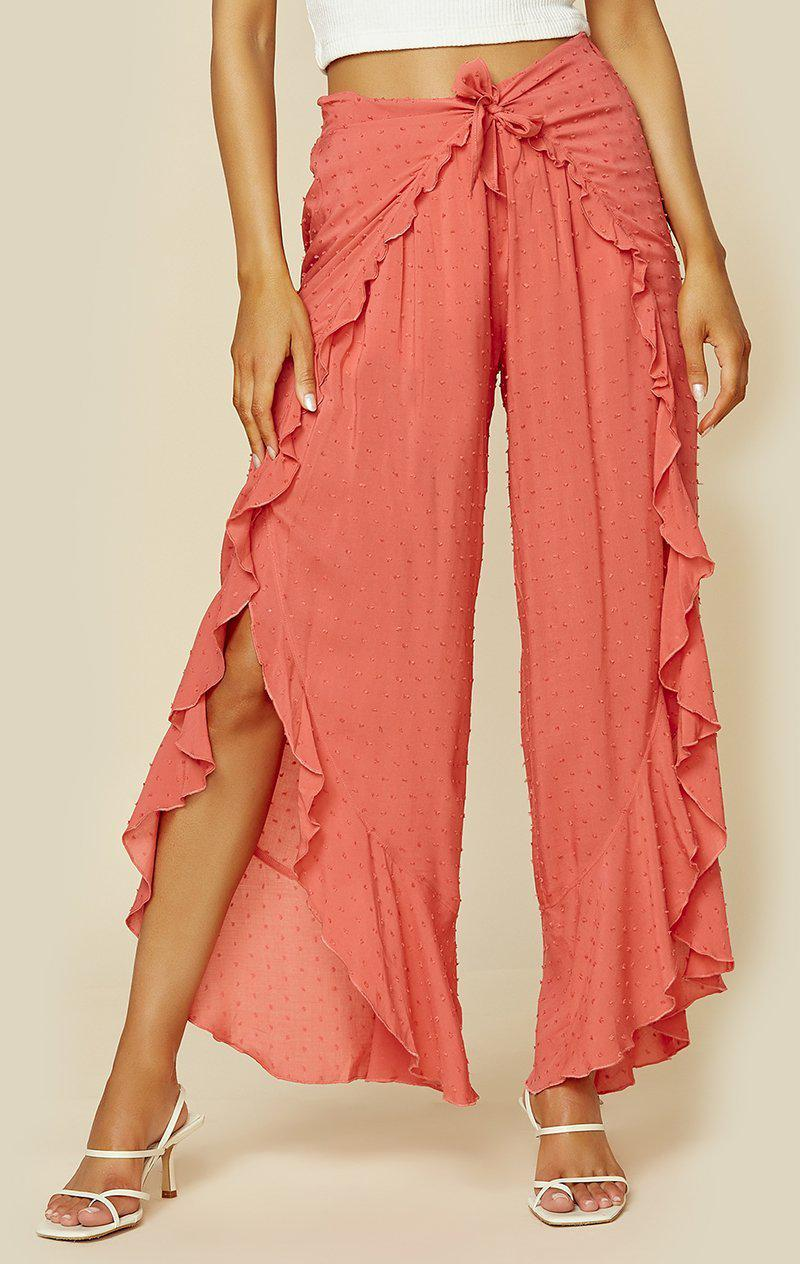 BLUE LIFE RUFFLE CULOTTE - BERRY CORAL