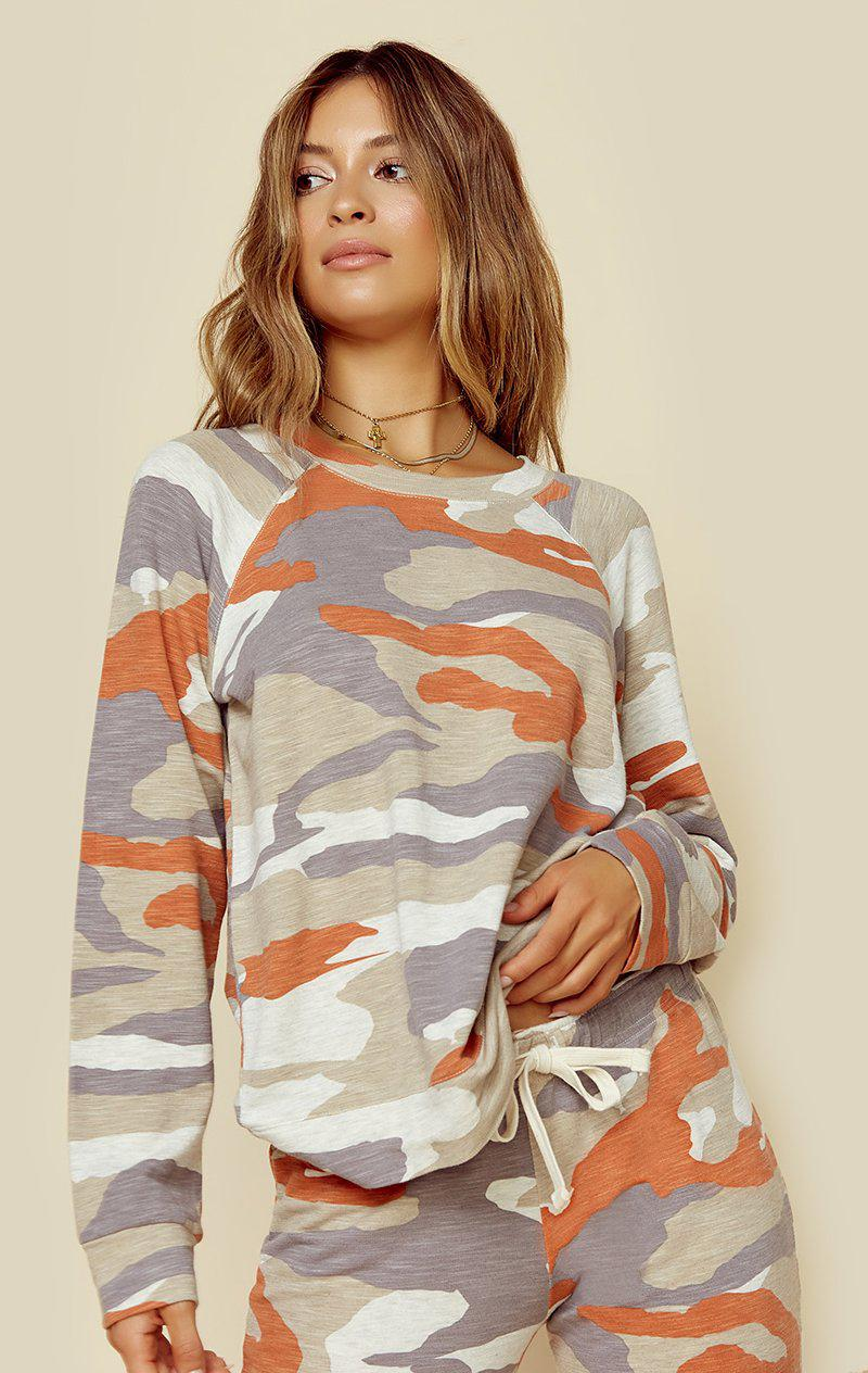 MONROW SUPERSOFT OVERSIZED CAMO VINTAGE SWEATSHIRT - ELECTRIC CORAL CAMO