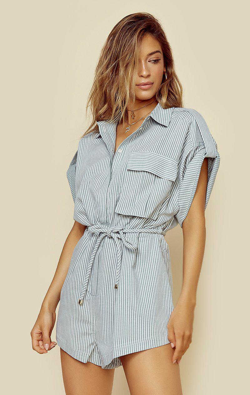 SIGNIFICANT OTHER HARTLEY ROMPER - PISTACHIO STRIPE