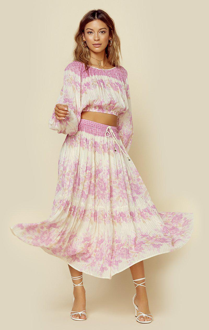 SPELL & THE GYPSY COLLECTIVE COCO LEI SKIRT - LILAC FLORAL