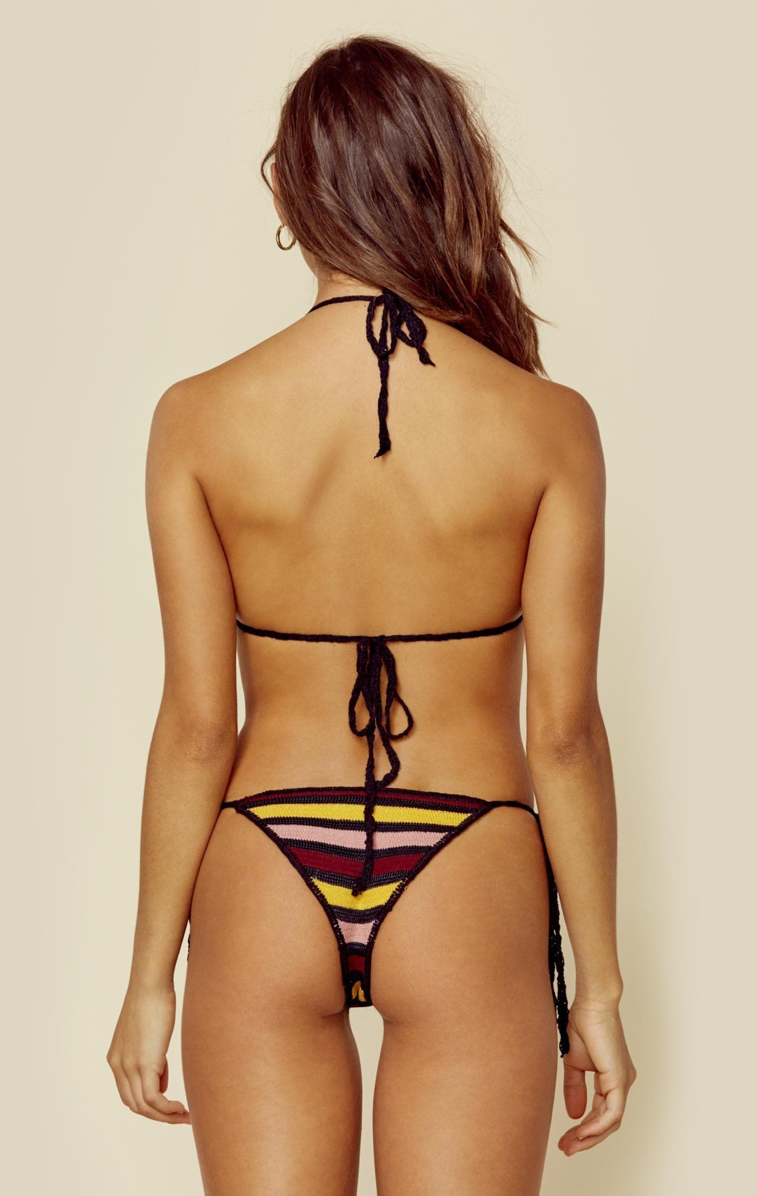 INDAH BURLEIGH KNIT SIDE TIE BOTTOM - SUNSET STRIPE