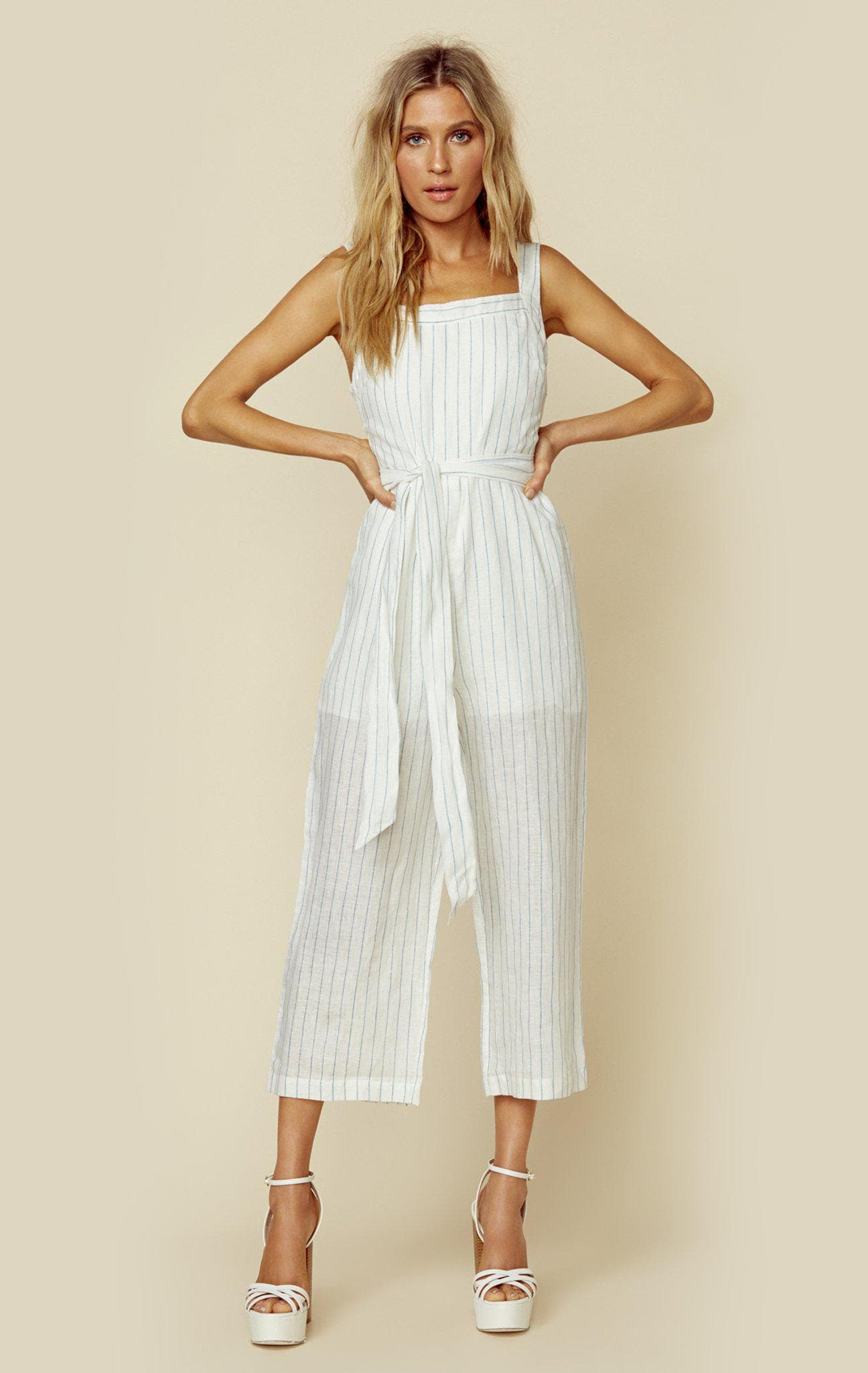 LOST + WANDER GABRIELA JUMPSUIT - WHITE/BLUE STRIPE