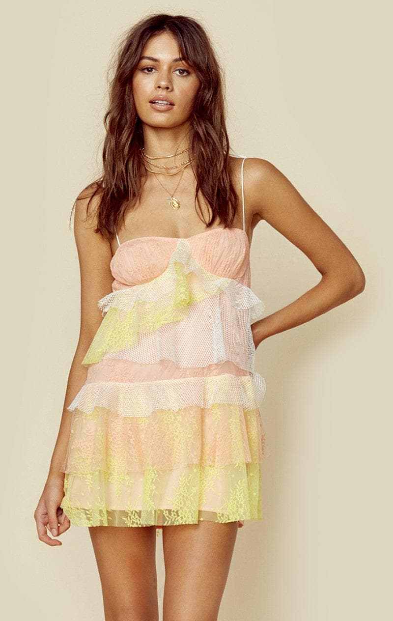 a3283e979e72 FOR LOVE AND LEMONS. SORBET LACE MINI DRESS