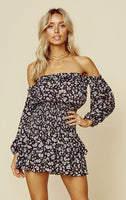 Floral Print Ruched Ballerina Straight Neck Off the Shoulder Romper With Ruffles