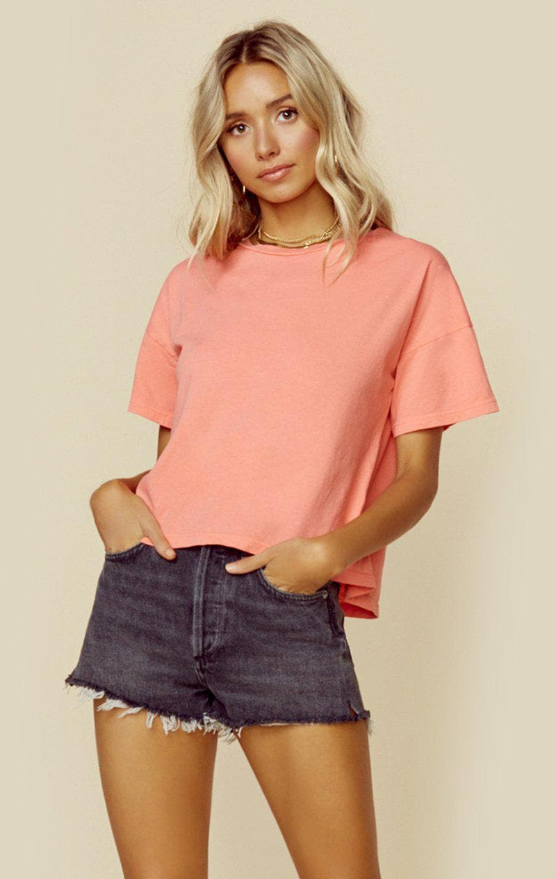 WASHED & WORN THE BOYFRIEND TEE - NEON CORAL