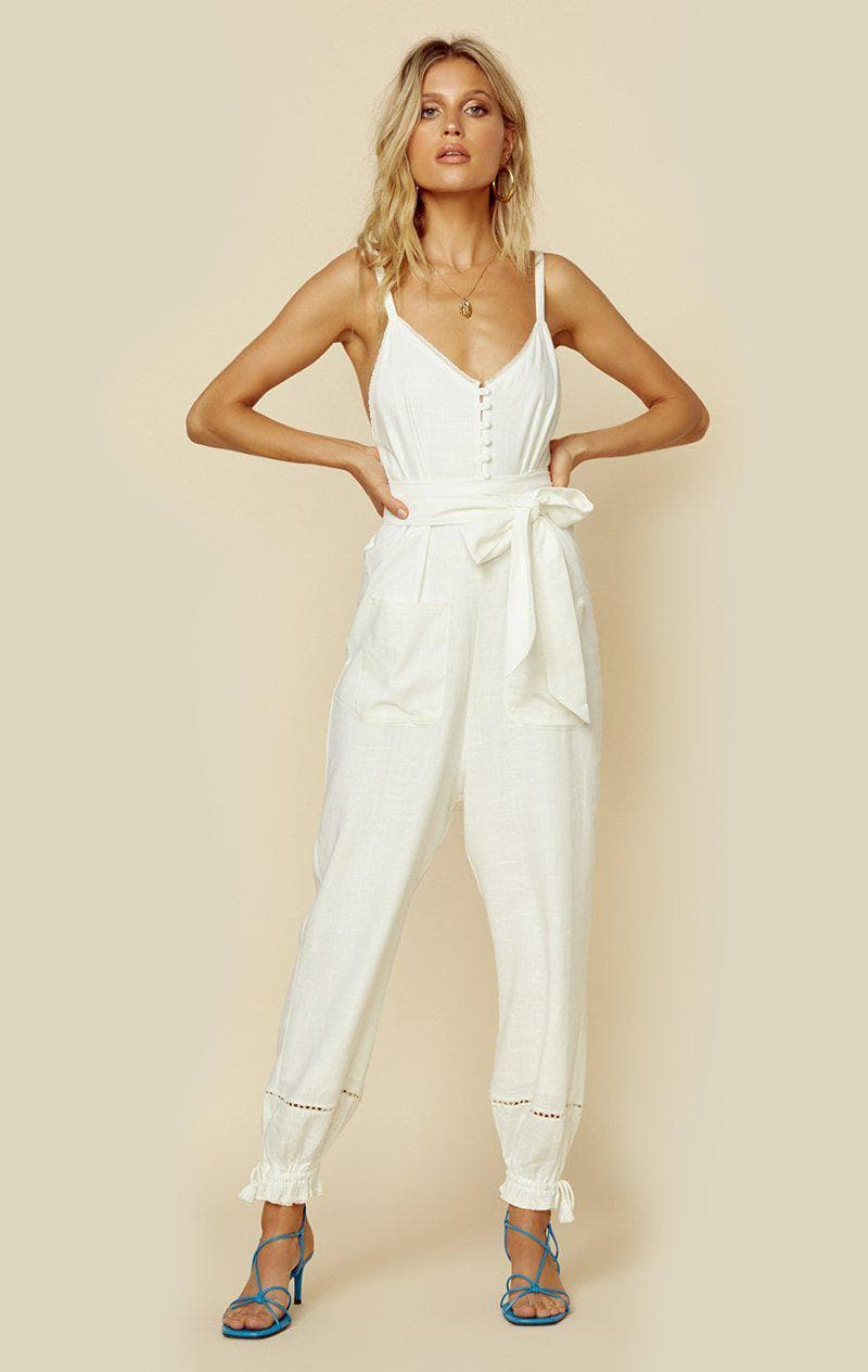 SPELL & THE GYPSY COLLECTIVE MILLA STRAPPY JUMPSUIT - OFF WHITE