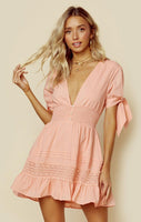 V-neck Fitted Embroidered Shirred Short Sleeves Sleeves Fit-and-Flare Plunging Neck Dress
