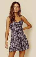 Sweetheart Ruched General Print Corset Waistline Dress With a Bow(s)