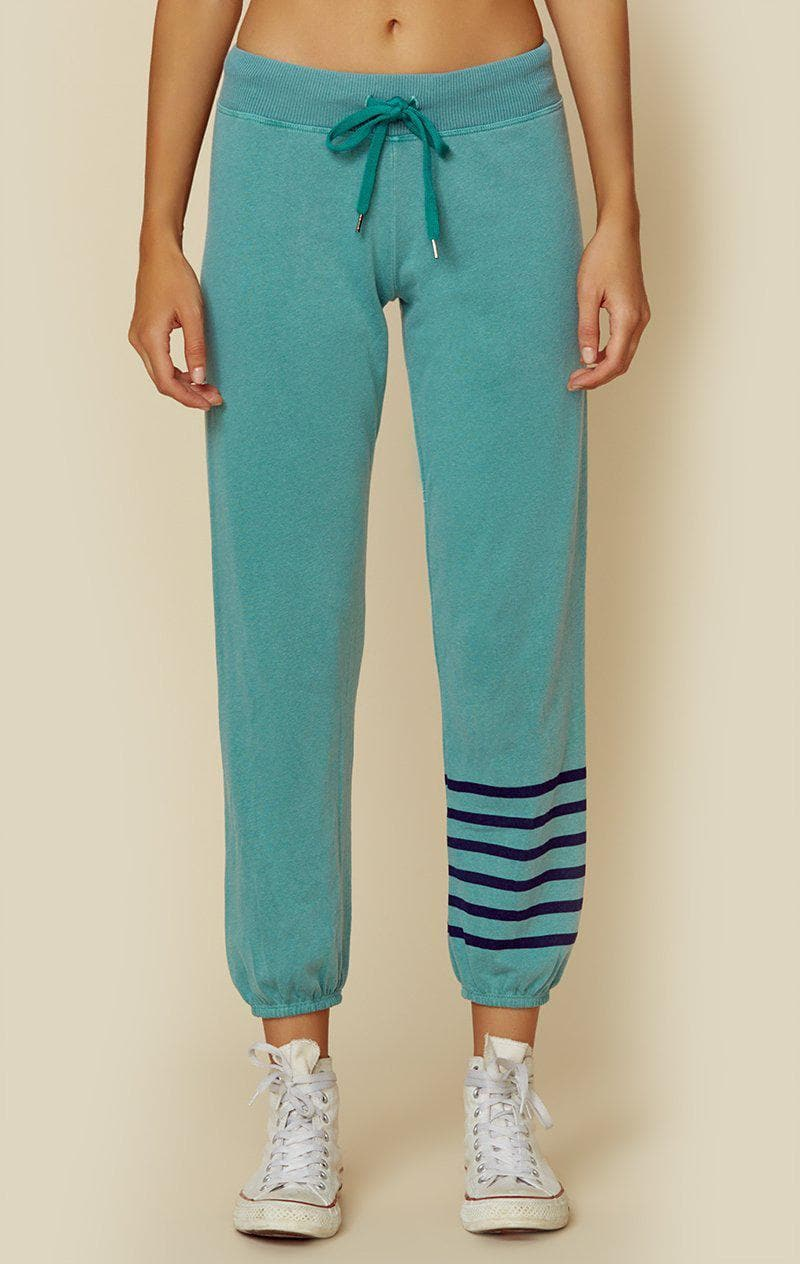 SUNDRY BASIC SWEATPANT STRIPES - EMERALD