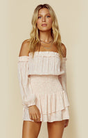 Ruched Ballerina Straight Neck Off the Shoulder Floral Print Romper With Ruffles