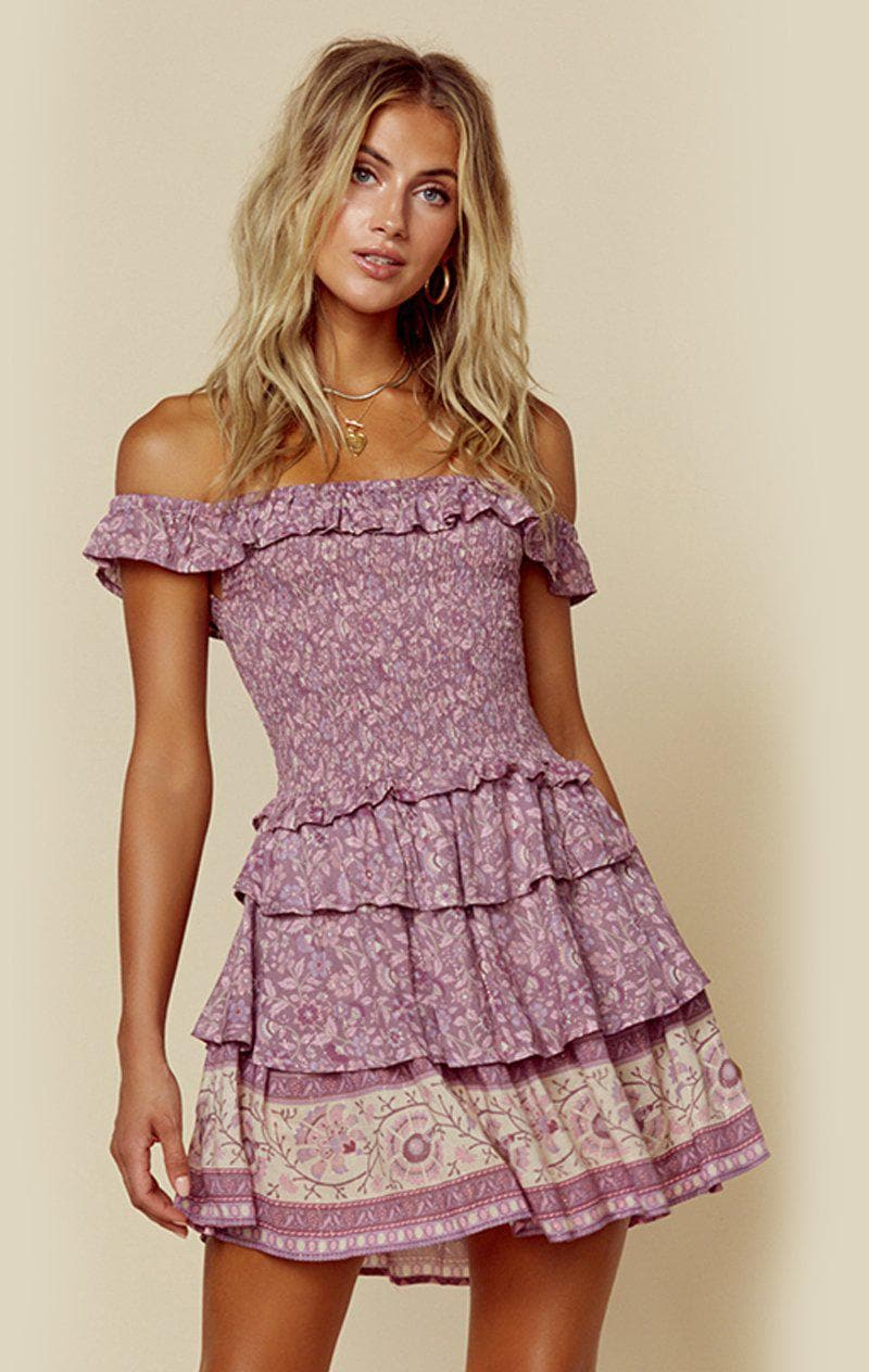 SPELL & THE GYPSY COLLECTIVE DAHLIA RA-RA MINI DRESS - MULBERRY