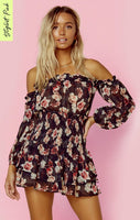 Straight Neck Long Sleeves Off the Shoulder Ballerina Sheer Ruched Floral Print Romper With Ruffles