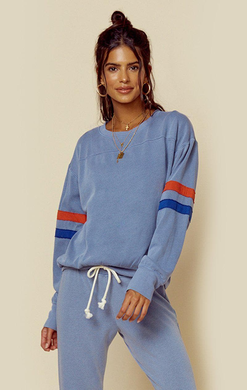 SUNDRY PULLOVER WITH ARM STRIPES - STONE BLUE
