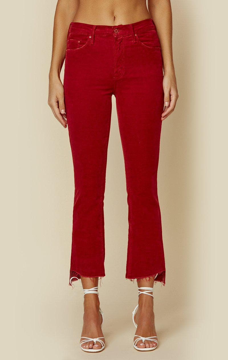 MOTHER THE INSIDER CROP STEP FRAY - GARNET CORD