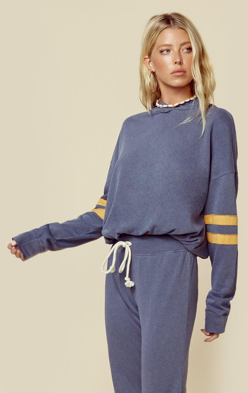 SUNDRY DRAWSTRING HOODIE WITH SLEEVE STRIPES - PIGMENT NAVY