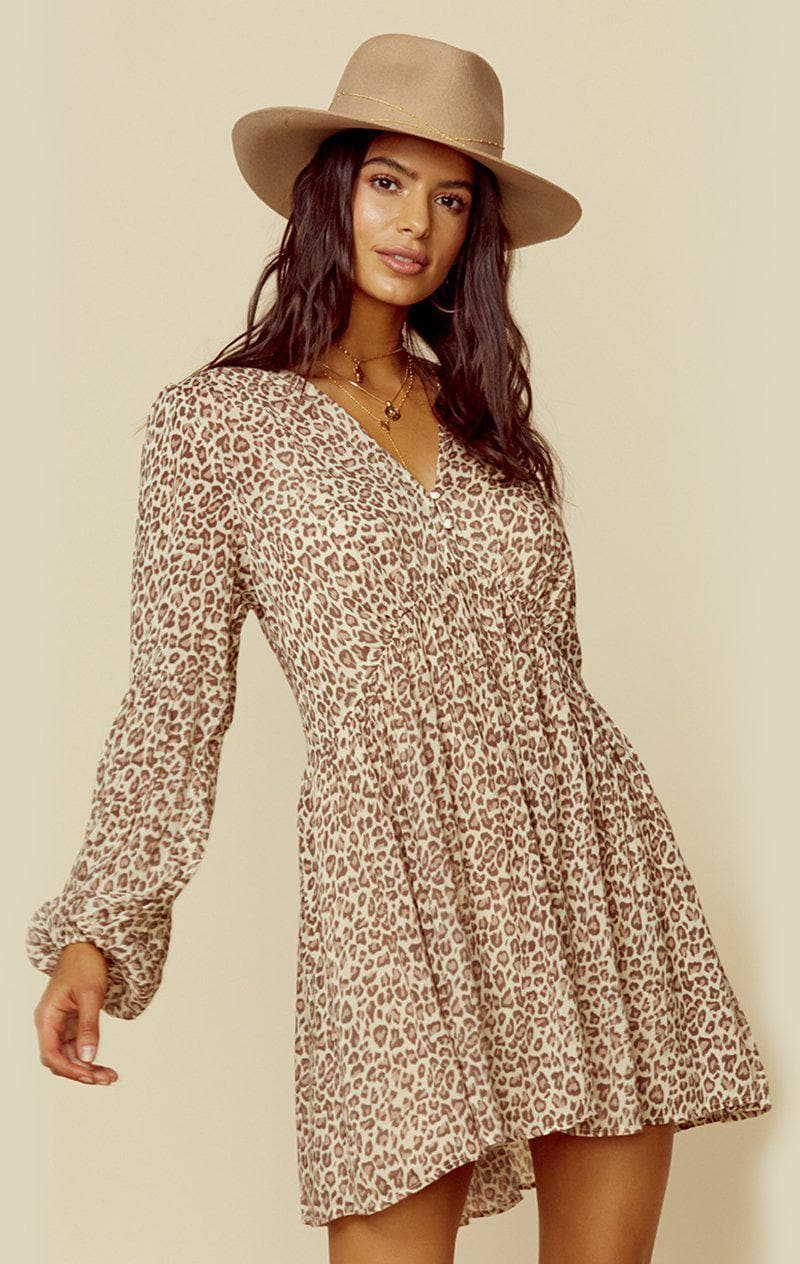 AUGUSTE THE LABEL NOMAD HELENA MINI DRESS - TAN LEOPARD