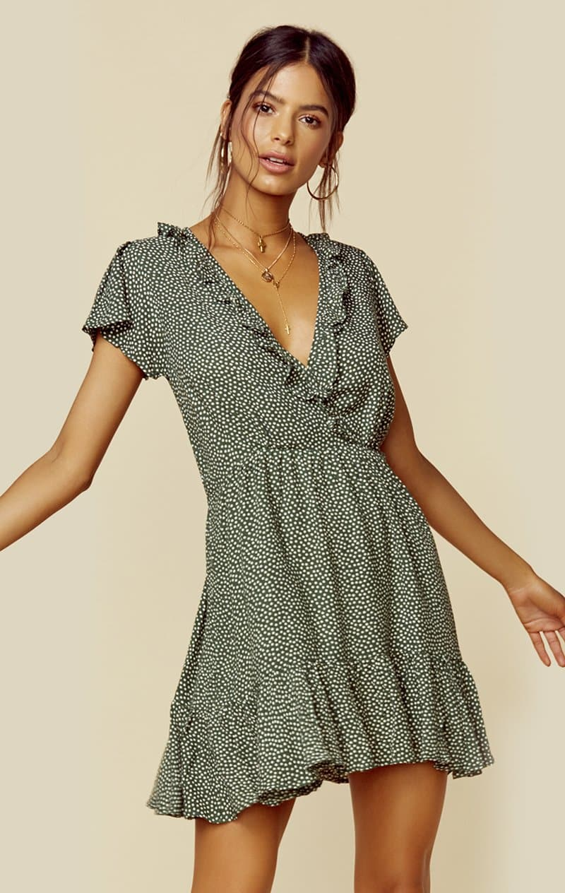 AUGUSTE THE LABEL PEARL JASPER MINI DRESS - KHAKI DOT