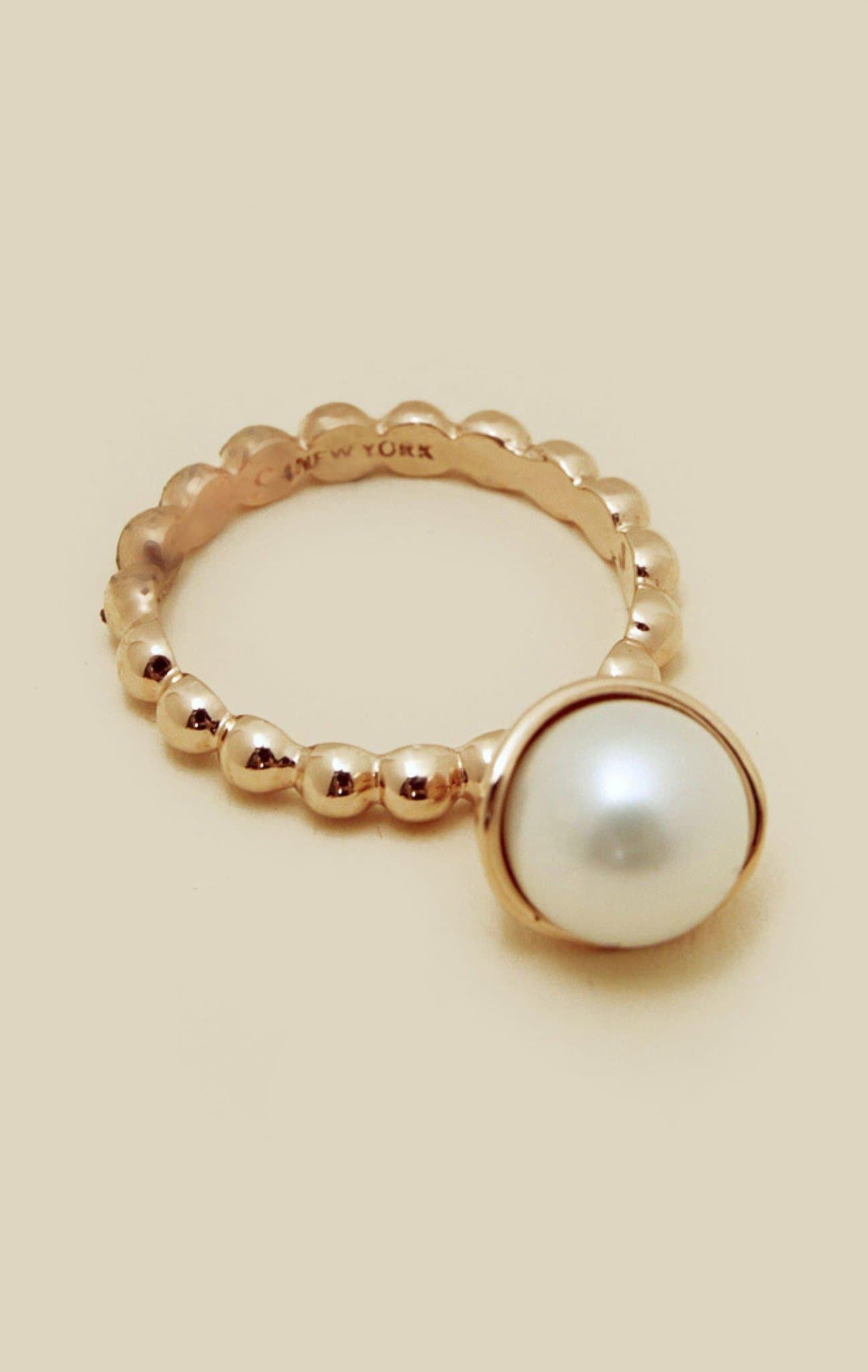AVEC POMPOM PEARL BUBBLE RING - ROSEGOLD