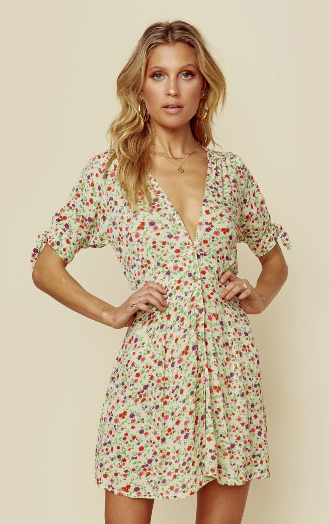 FAITHFULL THE BRAND MARIANNE MINI DRESS - BASTILLE FLORAL PRINT