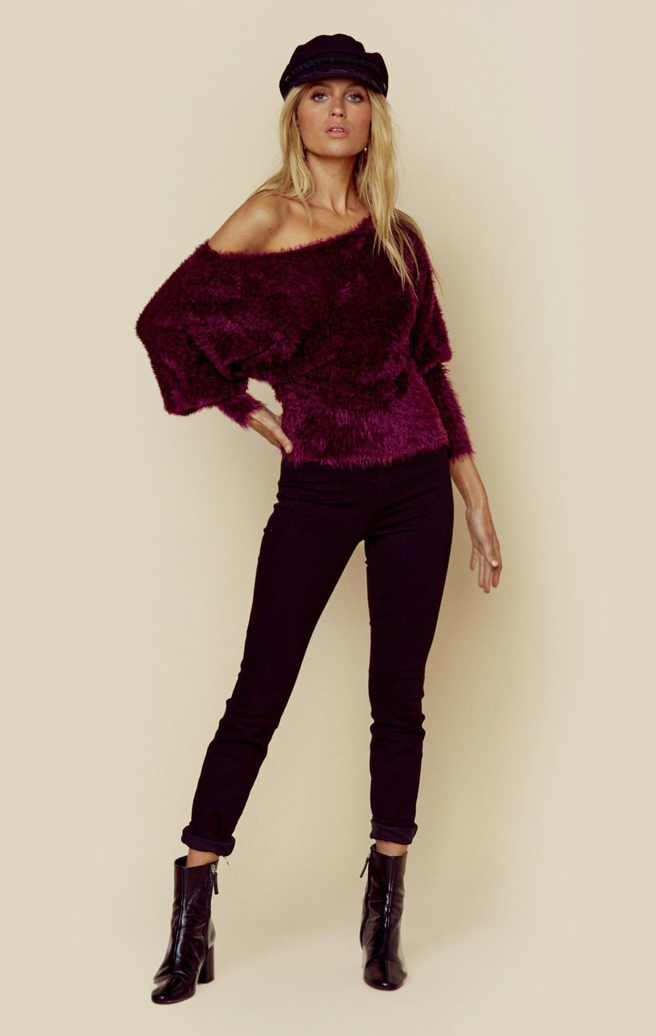 KNITZ/FOR LOVE AND LEMONS LOU SLOUCHY SWEATER - PURPLE