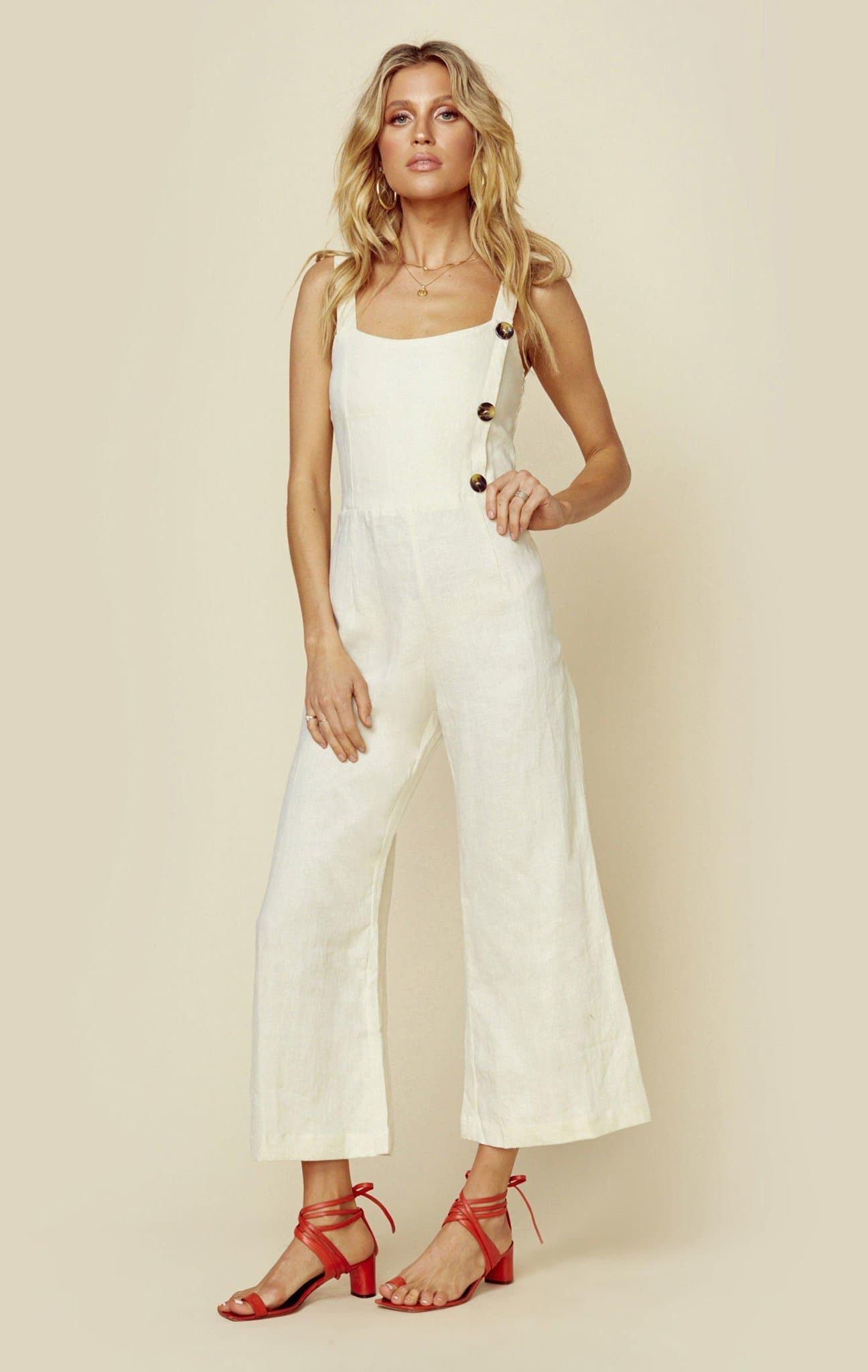 FAITHFULL THE BRAND SAINTE MARIE JUMPSUIT - PLAIN CREAM