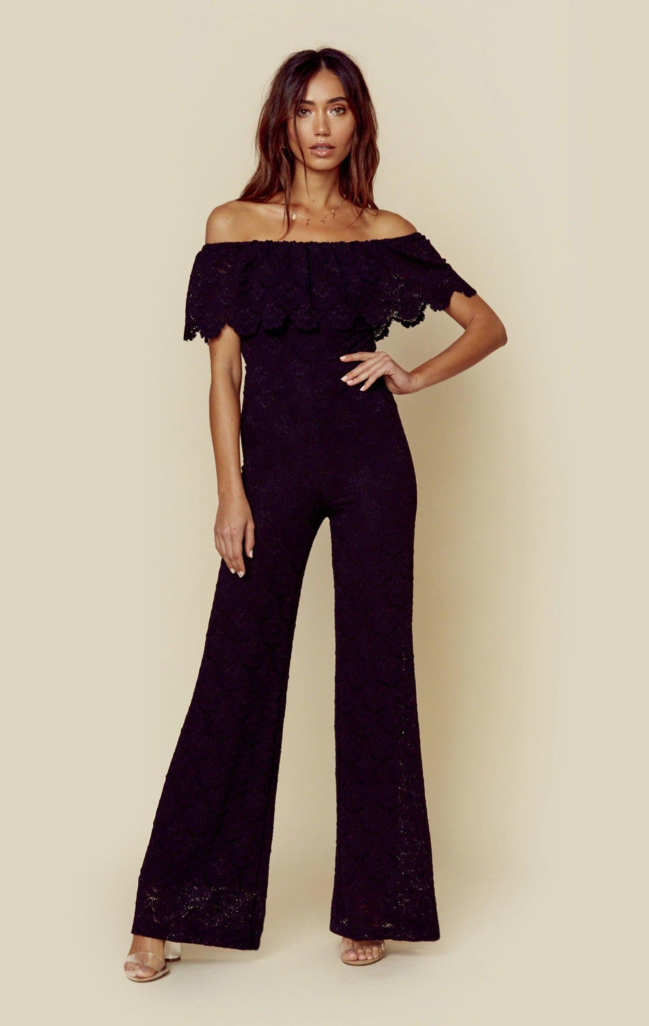 NIGHTCAP VICTORIAN FAN POSITANO JUMPSUIT - BLACK