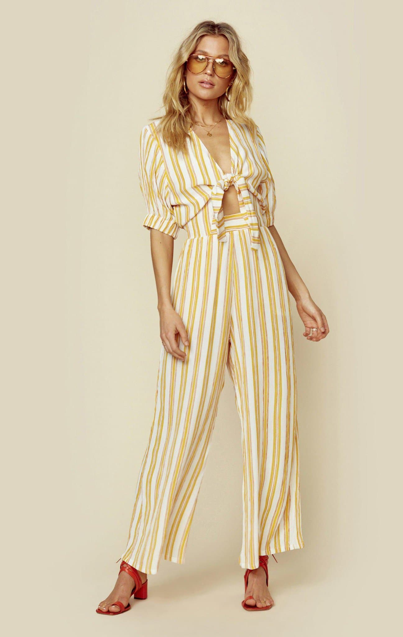 FAITHFULL THE BRAND MATESE JUMPSUIT - AZURE STRIPE