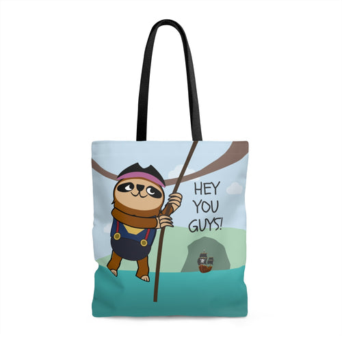 Mo the Sloth AOP Tote Bag - 'Hey you guys'