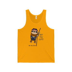Mo the Sloth Unisex Jersey Tank - 'Hey you guys'