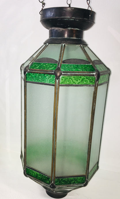 Hand Crafted Glass Ceiling Lantern - Green