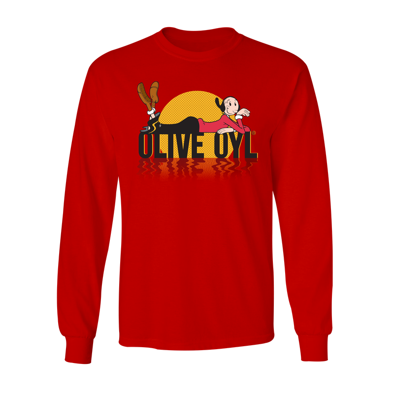 Olive Oyl 'Sunset' Long Sleeved T Shirt Red