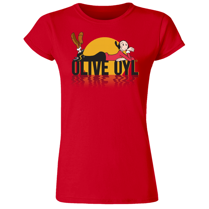 Olive Oyl 'Sunset' Women's T Shirt Red