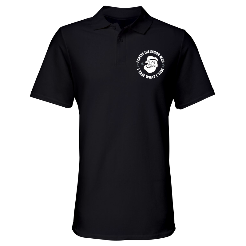 'I Yam What I Yam' Polo Shirt Black