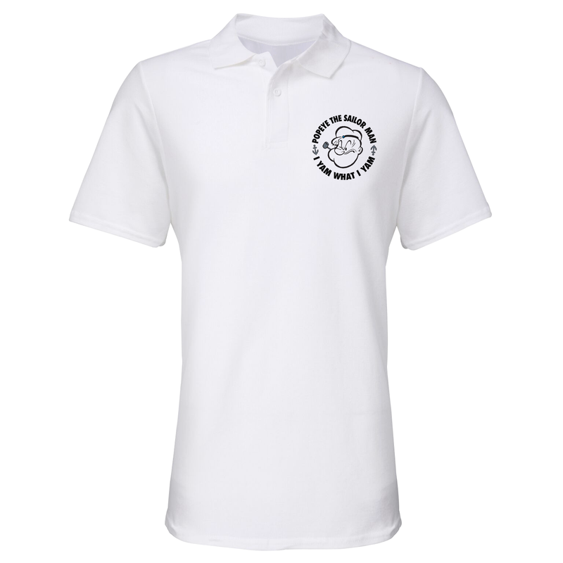 'I Yam What I Yam' Polo Shirt White