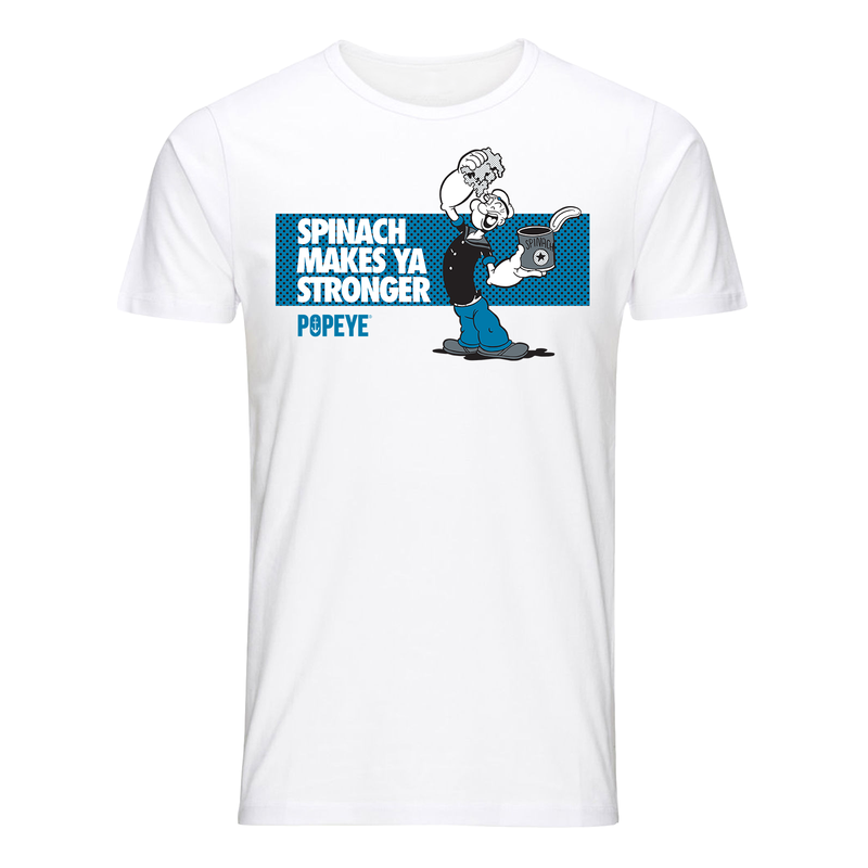 'Spinach Makes Ya Stronger' T Shirt White