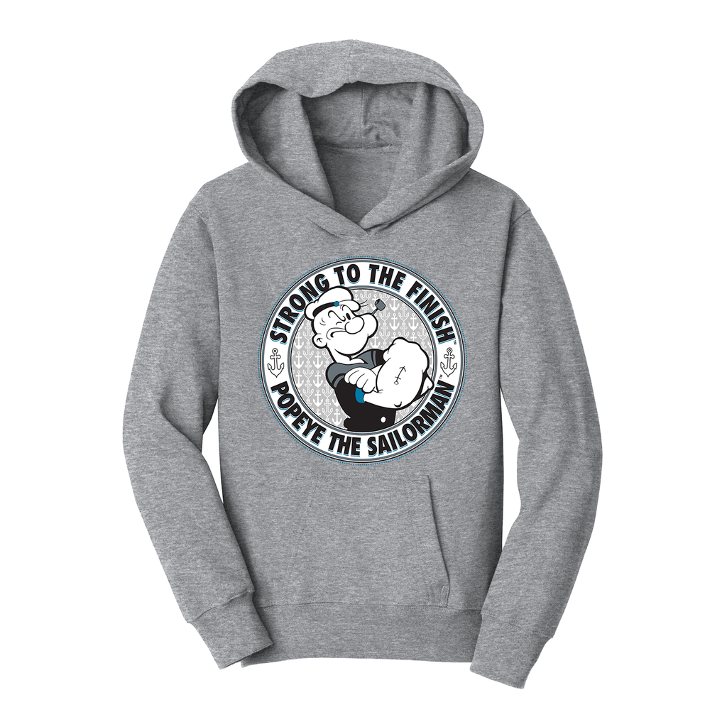 'Strong to the Finish' Youth Hoodie Heather Grey
