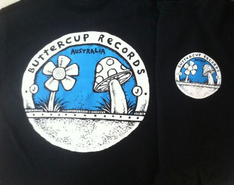 Buttercup Records - Black TEE w/ Blue Print - 2 Sided!