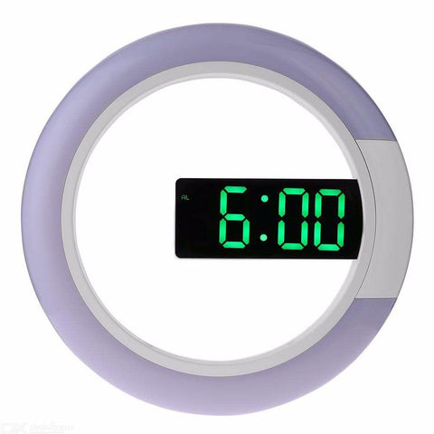 Large 30.5cm Round LED Digital Mirror Wall Clock With Temp Detect