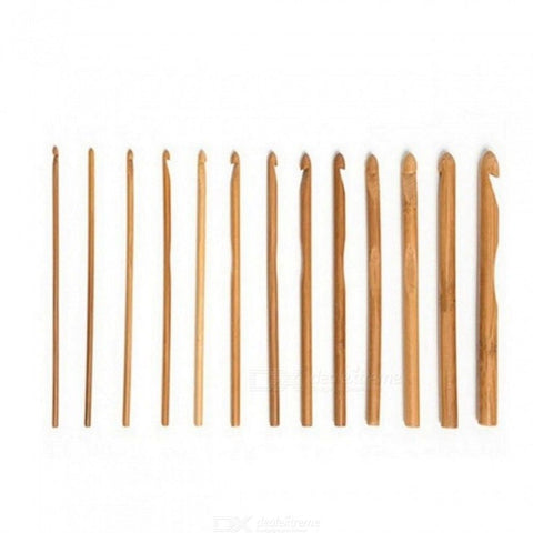 12Pcs/Set Sweater Knitting Circular Bamboo Handle Crochet Hooks Smooth Weave Craft Needle