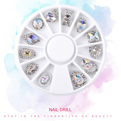 12 Styles Dazzling Tips Nail Sticker Sequins, Colorful Nail Art Decoration Rhinestones Diamonds Ornament Turntable As the Picture