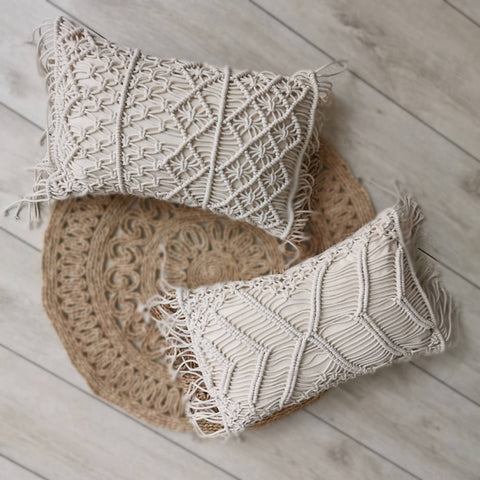 2019 New 30x50cm Macrame Hand-woven Cotton Thread Pillow Covers Sofa Cushion Cover Decorative Pillowcases Home Textile Almofadas