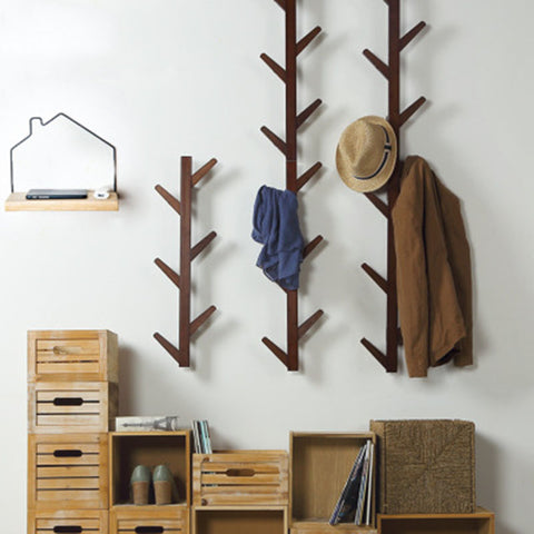 Actionclub 1 PC Bamboo Wooden Hanging Coat Rack Wall Clothes Hanger Living Room Bedroom Decoration Hanger Wall Shelves 6 Hooks