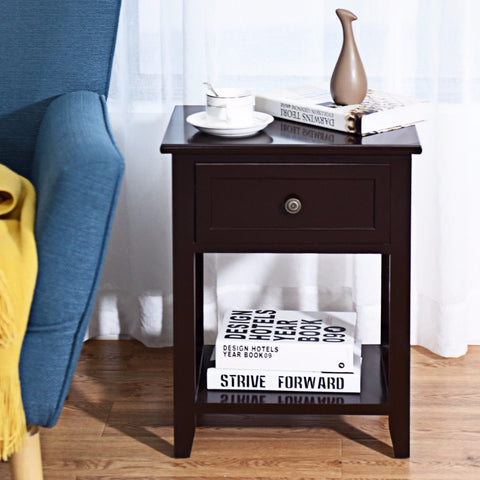 Giantex Nightstand End Bedside Table Drawer Storage Room Decor Bottom Shelf Home Furniture HW56019CF